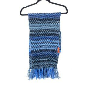 Missoni Woven Knit Blue Gray Combo Fringe Scarf